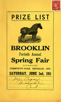 Brooklin Spring Fair Prize List, 1951