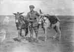Cullen Hay Perry in the desert in Egypt with two donkeys, c.1918