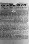 """Photo of newspaper clipping with headline """"ON ACTIVE SERVICE: Brief Paragraphs of Whitby and District Men Who Have Enlisted in Service of King and Country."""""""