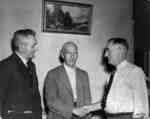 Thomas Newman at Presentation of his paintings to Legion Branch 112, 1948
