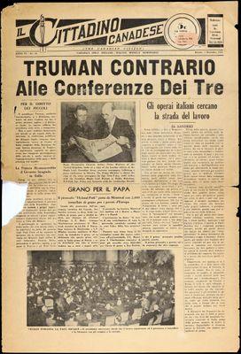 Il Cittadino Canadese, 1 Dec 1945