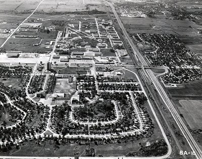 King's Crescent - Shopping Malls - MacDonald Cartier Freeway - Ajax - Aerial Photo