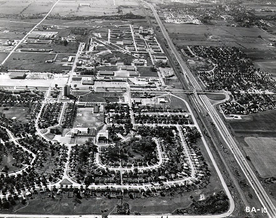 King's Crescent - Shopping Malls - MacDonald Cartier Freeway - Ajax - Aerial Photo