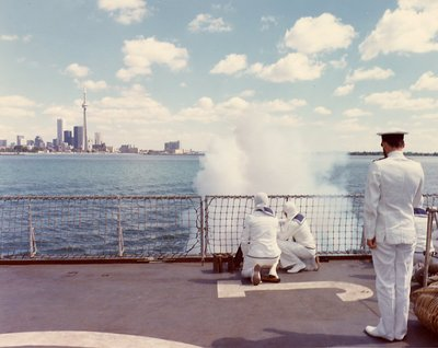 HMS Ajax, 1963 - Salute to HMCS Haida from HMS Ajax