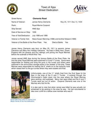 Ajax Veterans Street Dedication: Clements Road