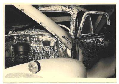 Ajax Public Works truck damaged by fire, 1962