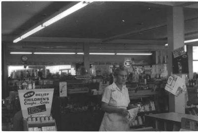 Kemp's Pharmacy, interior, Ajax 1959