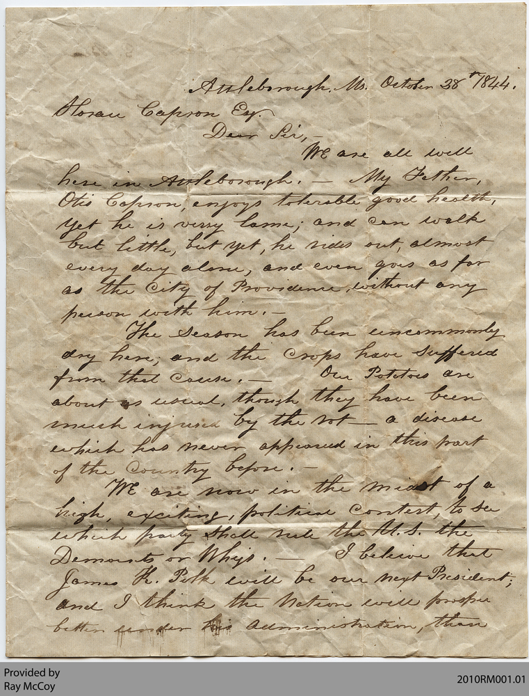 Letter from Joseph W. Capron to Horace Capron