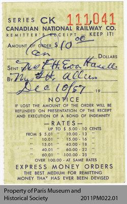 Remitter's Receipt, CN Railway Co.