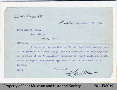 A Letter Informing about the Erection of the Foot Bridge over the Grand Trunk Railway
