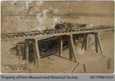Wreck on Grand Valley Railway near Paris, Ont.