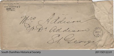 Envelope from a Letter Addressed to Mrs. Addison