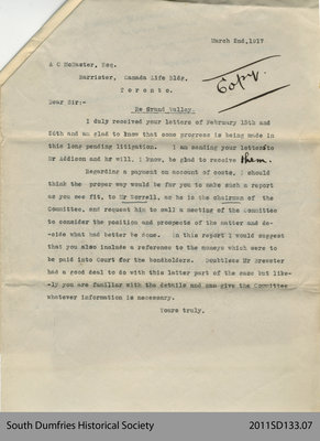 Letter Addressed to A. C. McMaster, Barrister, in Toronto