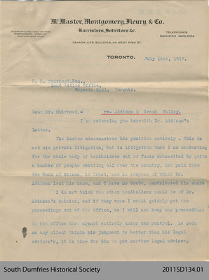 Letter from McMaster, Montgomery, Fleury & Co. to George H. Muirhead