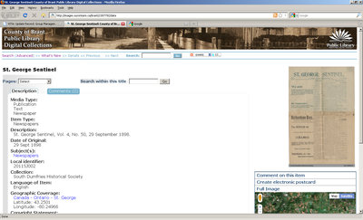 Digital record uploaded into OurOntario website.