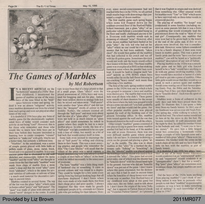 The Games of Marbles by Mel Robertson, from the Burford Times