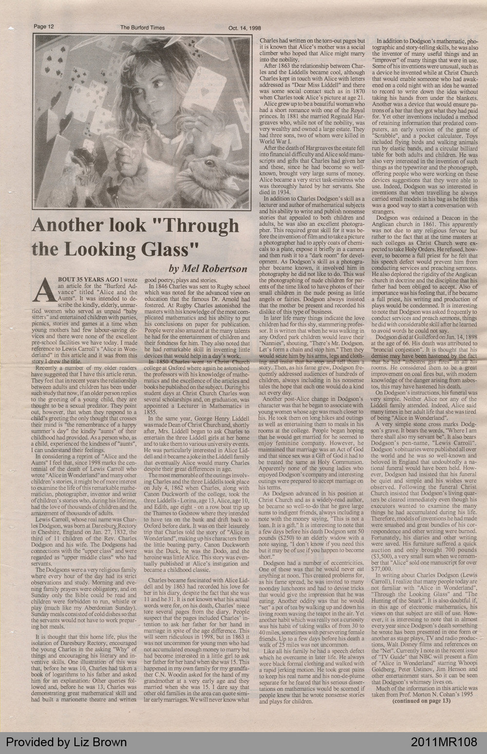 """Another Look """"Through the Looking Glass"""" by Mel Robertson, from The Burford Times"""