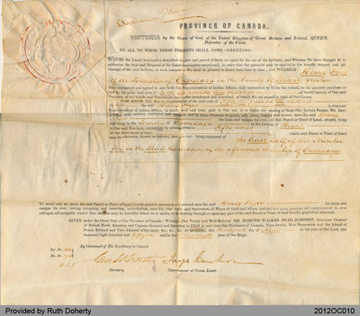 Land Grant to Henry Fryer