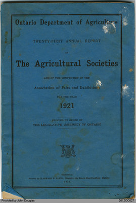 Annual Report of the Agricultural Societies