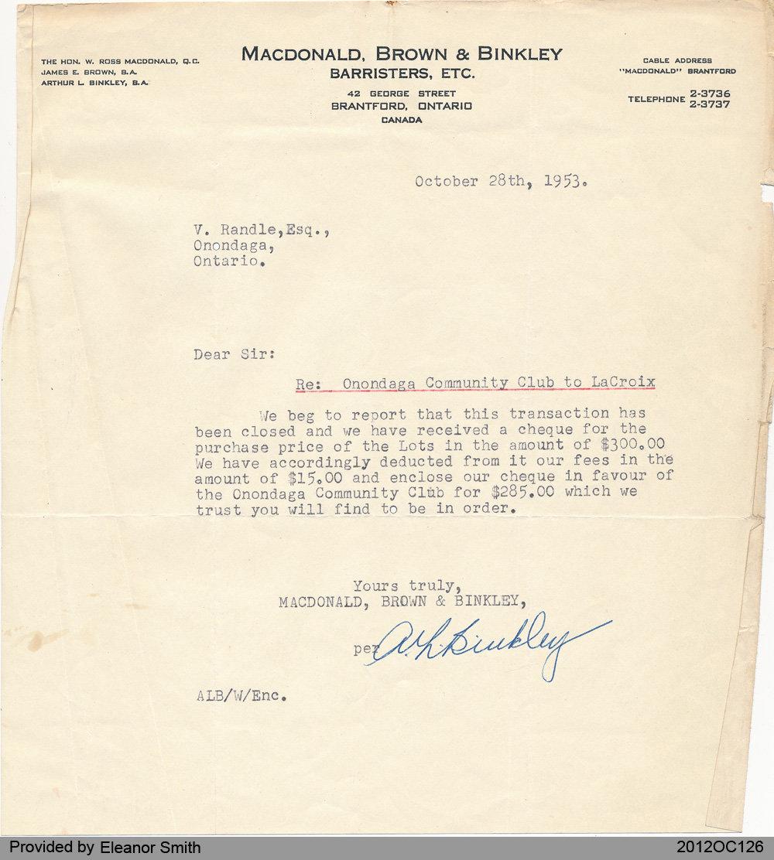 Letter Regarding Onondaga Community Club Land Purchase