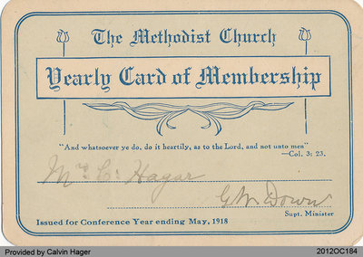 Methodist Church Membership Card of Mr. Calvin Hager