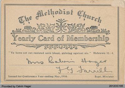 Membership Card of Mrs. Calvin Hager