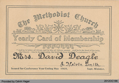 Membership Card of Mrs. David Deagle