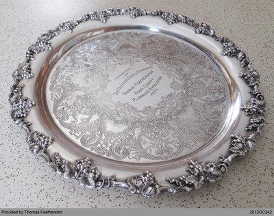 Silver Platter Presented to Thomas Featherston