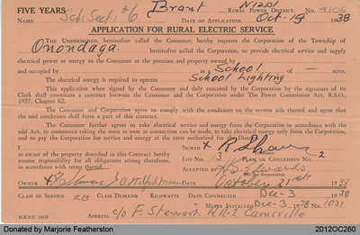 Application for Rural Electric Service