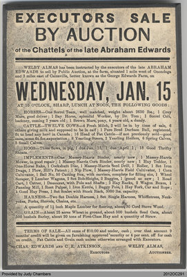 Auction Sale for Abraham Edwards's Effects