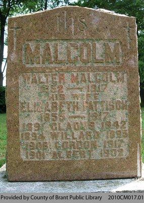 Malcolm Family Headstone
