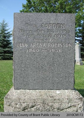 Aspden Family Headstone (Range 12-6)