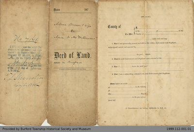 Land Deed Between Arthur Brown and Aaron McWilliams