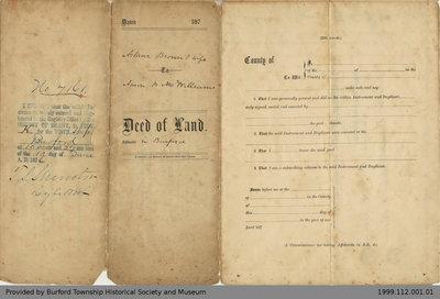 Land Deed Between Arthur Brown and Aaron McWilliams