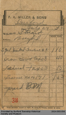Receipt From F.A. Miller & Sons