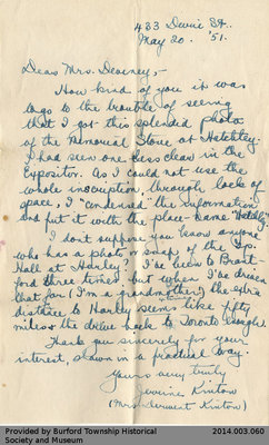 Letter From Jeanine Kinton to Mildred Deveney