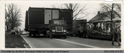Truck Moving Burford Railroad Station to St. George