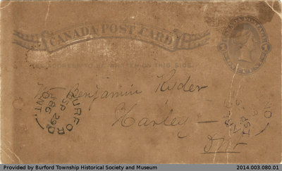 Postcard From A. Foster to Benjamin Ryder