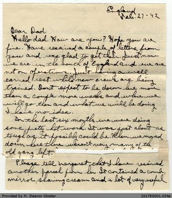 "Letter, John ""Jack"" Chapple Tate to George R. Tate, 27 February 1942"