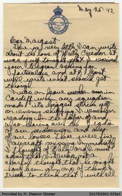 "Letter, John ""Jack"" Chapple Tate to Margaret Tate, 25 May 1942"