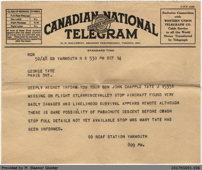 "Telegrams Re John ""Jack"" Chapple Tate, October 1942"
