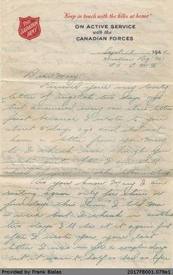 Letter, John Bialas to Mary Dancavitch, 18 September 1944