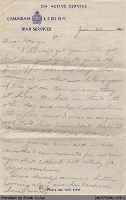 "Letter, Joseph ""Joe"" Bialas to Mary Dancavitch, 25 June 1943"