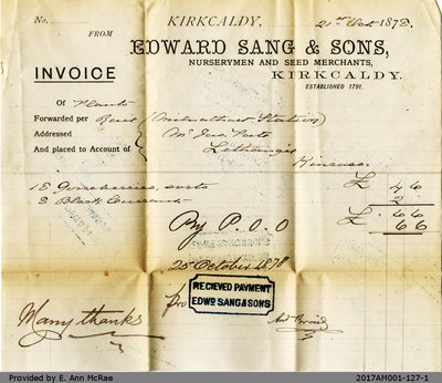 Invoice to James Pate from Edward Sang and Sons Nurserymen and Seed Merchants, October 25 1876