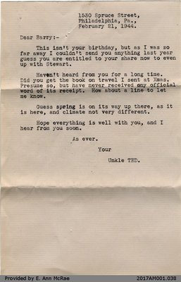 Letter, T. E. (Ted) Arnold to Barry Jones, 21 February 1944