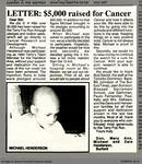 Letter: $5,000 raised for Cancer