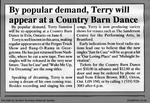 By popular demand, Terry will appear at a Country Barn Dance
