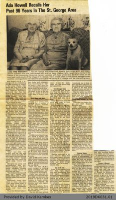 Newspaper Section: Ada Howell Recalls Her Past 96 Years in the St. George Area
