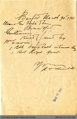 Letter George Foster and Sons from Richard F. Meredith