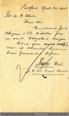 Letter to George Foster and Sons from Henry Cox